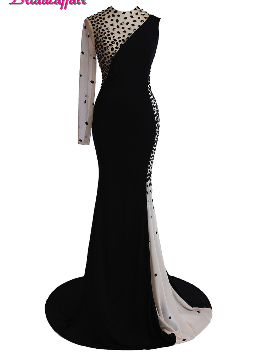 KapokBanyan Real Photo Black and White Chiffon Prom Dresses 2017 New Design Crystal One Shoulder Long Party Evening Gown