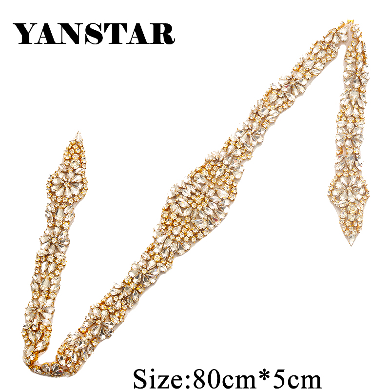 YANSTAR (5pcs) All The Way Beaded Rhinestones Appliques Hand Clear Rose Gold Crystal Sewing On For Bridal Gown Sash YS854