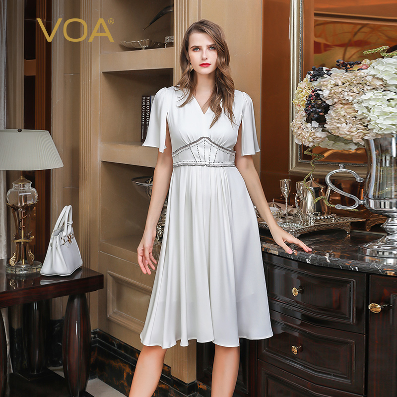 VOA White Heavy Silk Midi Dress A920