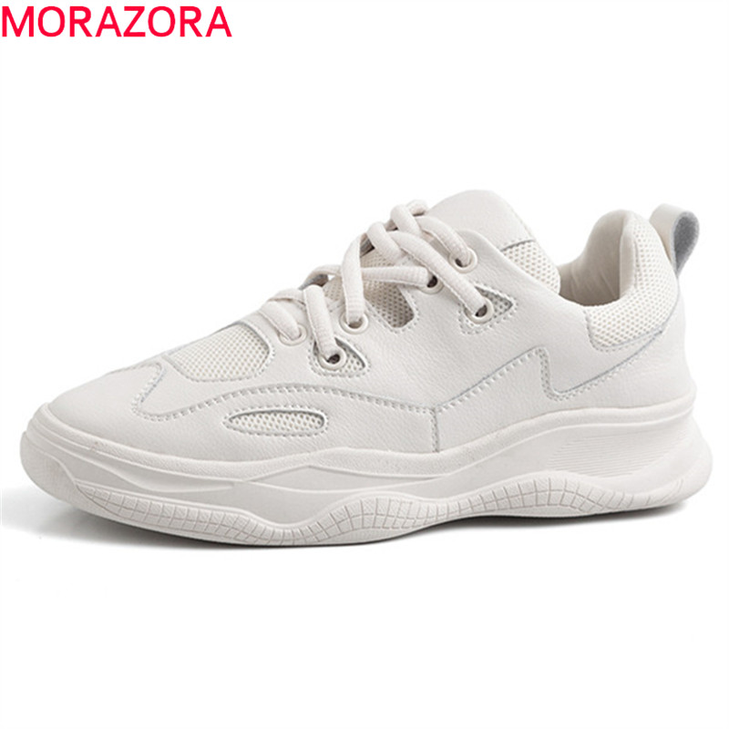 MORAZORA 2019 newest adult genuine leather shoes women sneakers lace up round toe summer casual shoes