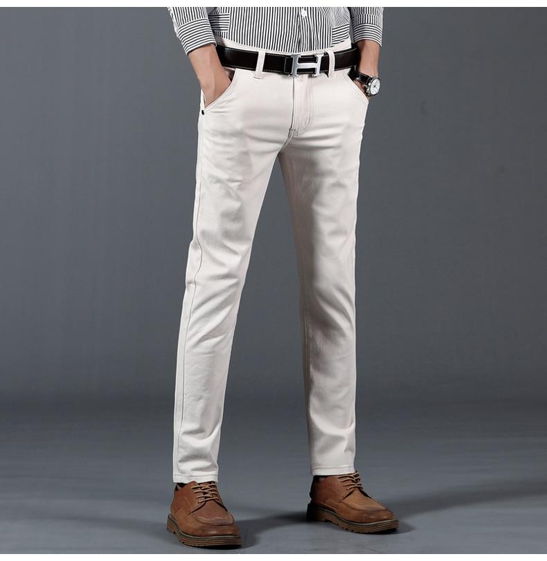 HTB1AwM9asfrK1Rjy1Xdq6yemFXaj 6 Color Casual Pants Men 2019 Spring New Business Fashion Casual Elastic Straigh Trousers Male Brand Gray White Khaki Navy