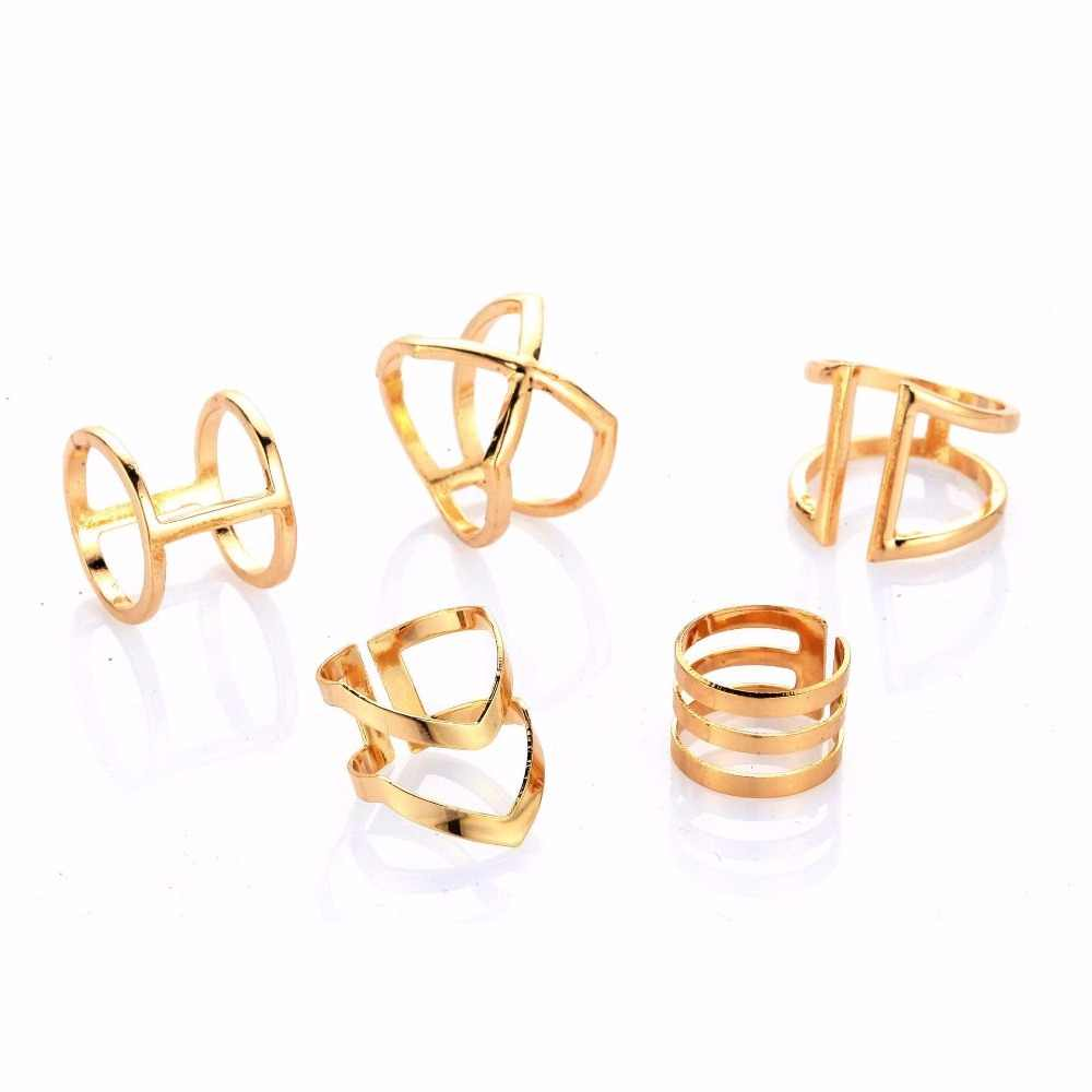 5 Pieces Retro Golden Plated Fawn V Geometry Rings Set With Crystal Rhinestone Carved Personality Joint Ring Wholesale Nice Gift