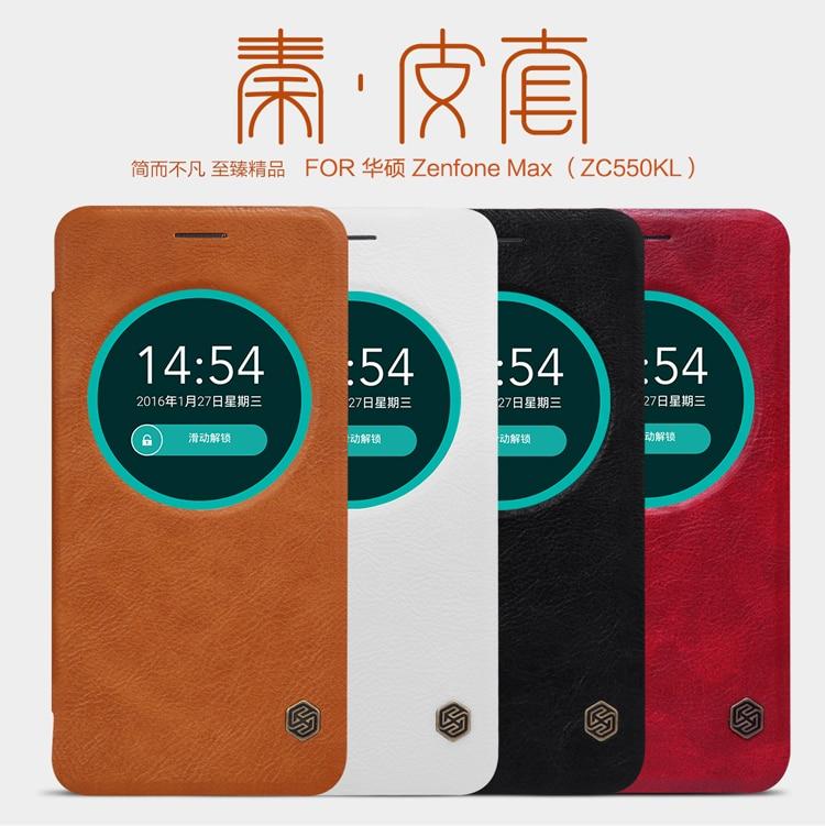 imágenes para Nillkin de la Alta Calidad Superior de Cuero Genuino Ver Caso Elegante Para ASUS zenfone max ZC550KL ZenFone 5000 Z010DA
