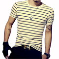 Hombres Camiseta de Verano de Manga Corta Camiseta de Los Hombres A Rayas O Cuello Camisetas A Rayas de Los Hombres Slim Fit Tees Casual Male Tops Tallas grandes 5XL
