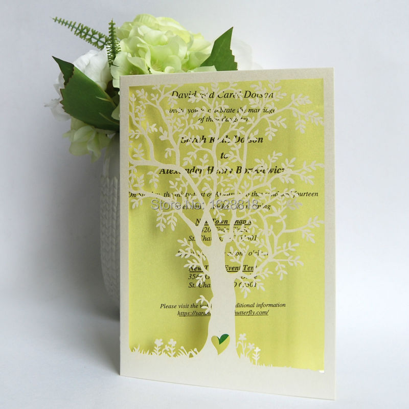 Paper Craft Item Indian Style Laser Cut Tree Wedding Invitations Lace Design Invites 50pcs Lot In Stock Cards From Home Garden On