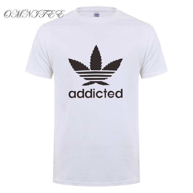 New Addicted White Leaf T Shirt Men Summer Fashion Short Sleeve Cotton Weed Day T Shirts O-neck Funny Mens T-shirt Tops OT-939 4