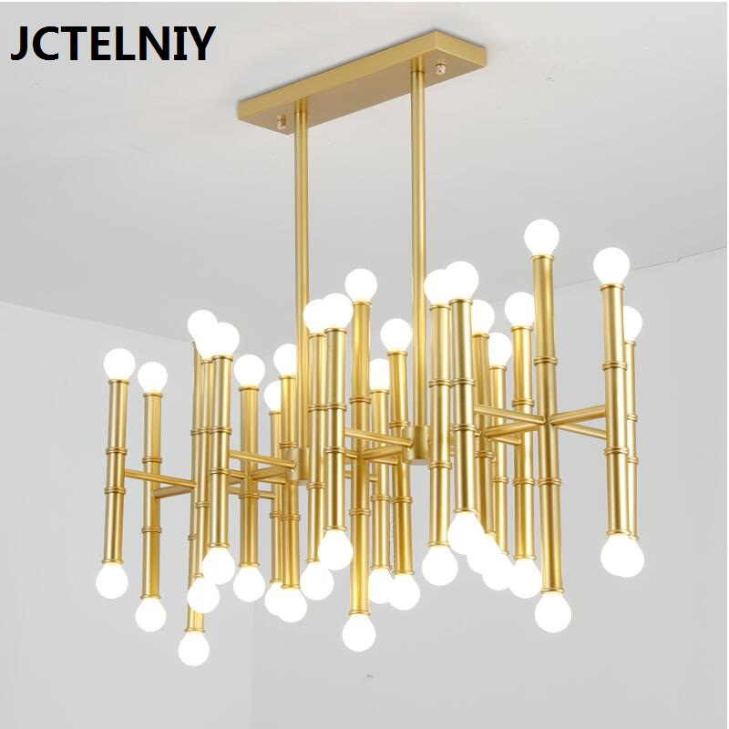 Us 1554 72 18 Off Led 42 Bulbs Bamboo Droplight Jonathan Adler Meurice Pendant Lamp Contemporary Contracted Wrought Iron Rectangular Chandeliers In