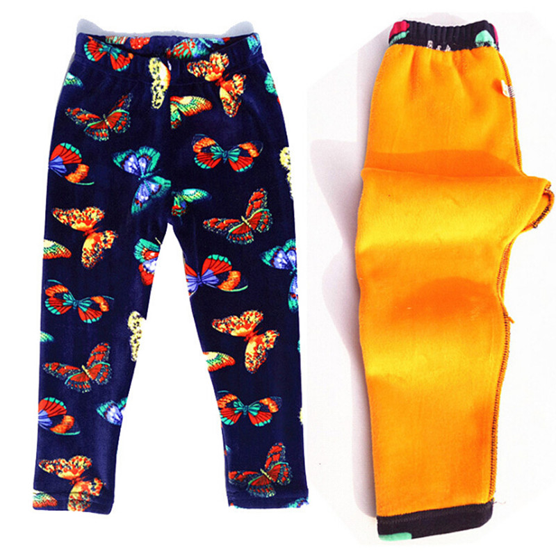 Pleuche Girls Leggings Autumn Winter Thick Warm Kids Pants Floral Children Trousers Baby Girl Clothes Leggings for 2-10Y