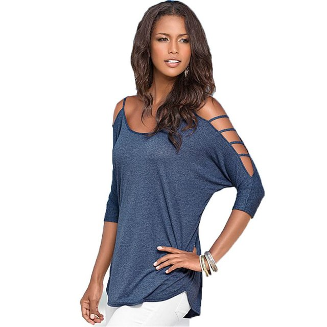 Cut T Shirt Designs Off Shoulder | Women Cutout Design Sleeve Round Neck T Shirt Casual Loose Tops Tees
