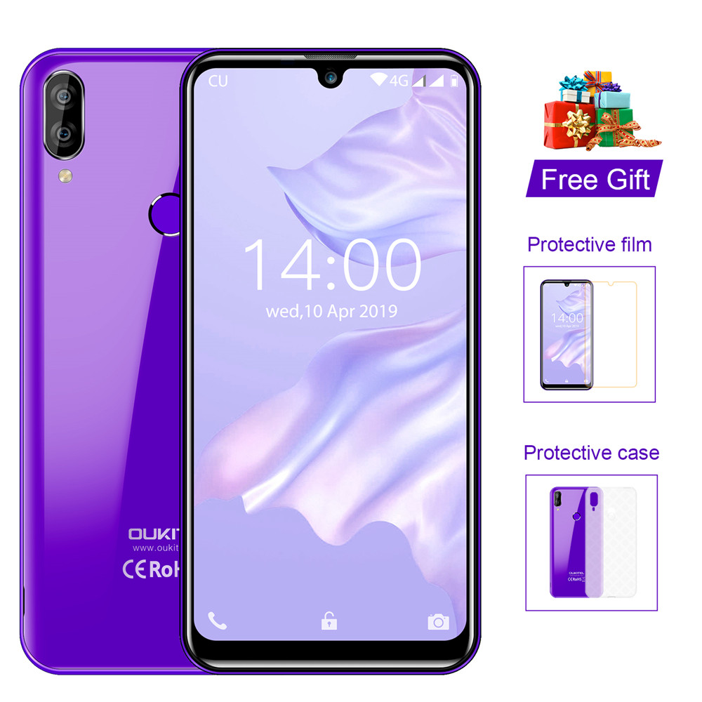 OUKITEL C16 Pro 5.71'' Android 9.0 19:9 MT6761P 3GB 32GB Smartphone Fingerprint Face ID Waterdrop Screen 5V/1A 4G Mobile Phone