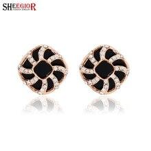 SHEEGIOR Fashion Small Love Punk Black Earring Luxury Rhinestone Fashion Sqaure Hollow Stud Earrings for Women Girls Ear Jewelry