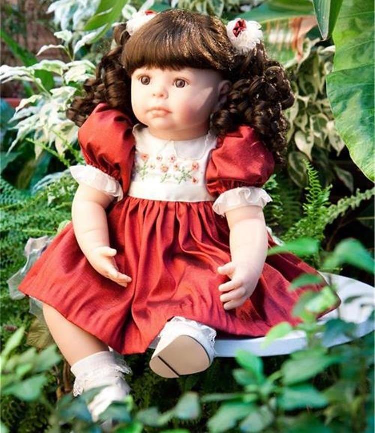 55 cm realistica Del Silicone Reborn Baby Dolls giocattoli ragazze giocattolo regalo bambola reale Neonato Ragazza addormentata bambole con il rosso principessa vestito55 cm realistica Del Silicone Reborn Baby Dolls giocattoli ragazze giocattolo regalo bambola reale Neonato Ragazza addormentata bambole con il rosso principessa vestito