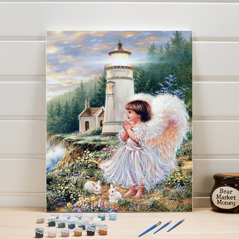 Paint Oil Painting By Numbers Angel Kids DIY Canvas Acrylic Coloring Art Pictures For Living Room Wall Adults Drawing One Piece