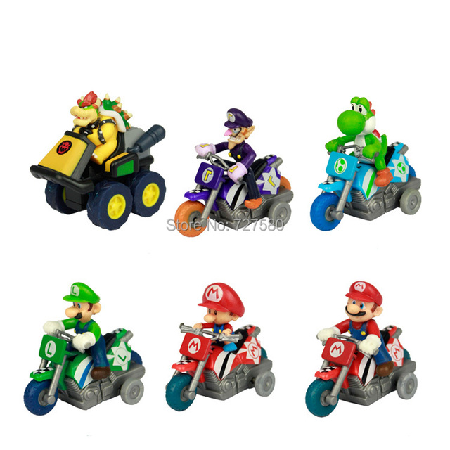 6x Mario Kart Model Toy Drive Vehicles Super Mario Kart