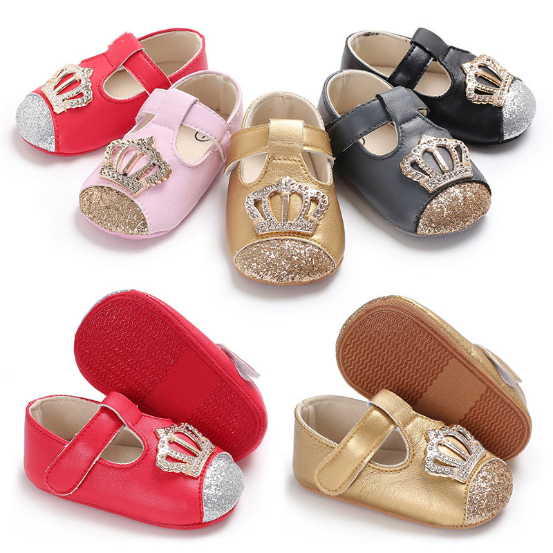 Fashion Crown style baby girls shoes nonslip soft soled first walkers party shoes 2018 hot sale toddler moccasins for 0-1 years