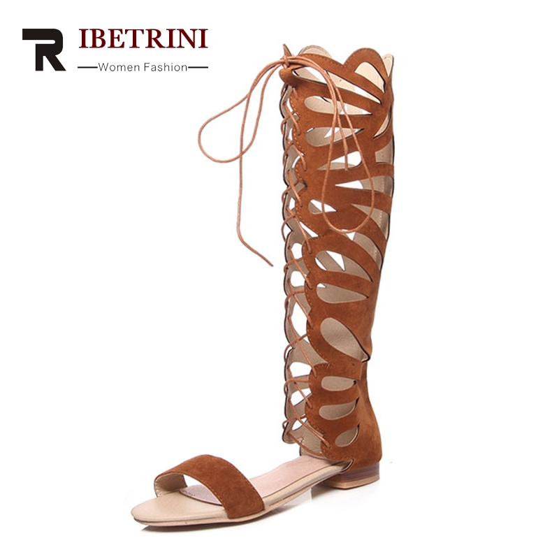 RIBETRINI Brand Design Plus Size 34-48 Hollow Summer Boots Shoes Women Fashion lace-up Trendy Gladiator Woman Shoes
