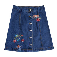 Womens Plus Size Denim Skirts Ladies High Waist Embroidery Jean Skirt 2017 Summer Blue Single Breasted Short Skirts