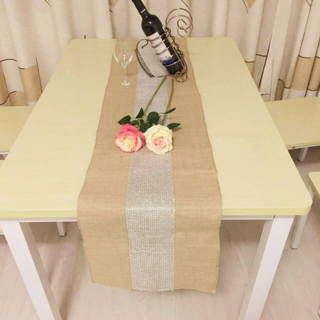 Rustic Wedding Decoration Natural Hessian Burlap Table Runner With Silver  Diamond Rhinestones Decoratived Birthday Party