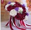 2017 Дешевые Свадебные/Невесты Букеты Бургундия/Красное Вино и Белое Свадебное Искусственный Букет Роз де mariage рамо де ла бода