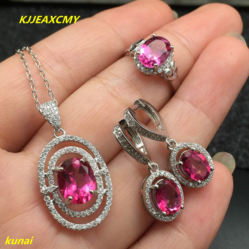 KJJEAXCMY boutique jewels 925 silver inlay natural Pink Topaz Ring Pendant Earrings 3 suit jewelry necklace sent abd kjjeaxcmy boutique jewels 925 silver inlay natural pink topaz ring pendant earrings bracelet 4 suit jewelry necklace sen