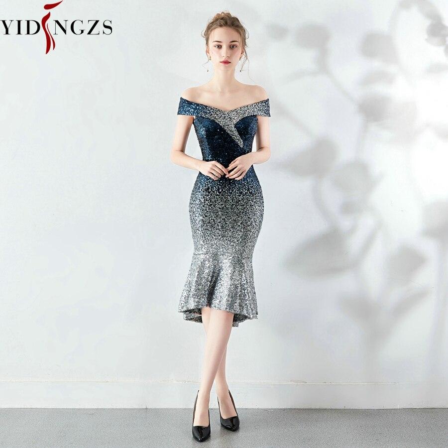 YIDINGZS New Women Elegant Short Sequin Prom Dress Knee Length Sparkle Evening Party Dress YD16181 6