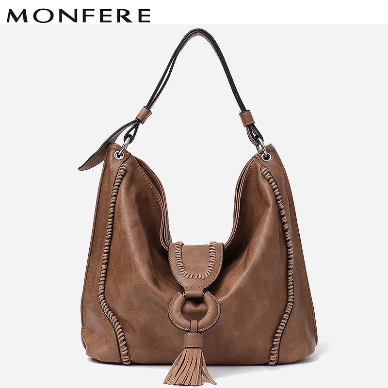 MONFERE Fashion Vegan Leather Top handle Bag Female Tote Ladies Large Tassel Flap Ladies Hand Bags Women Shoulder Bag Trend 2018