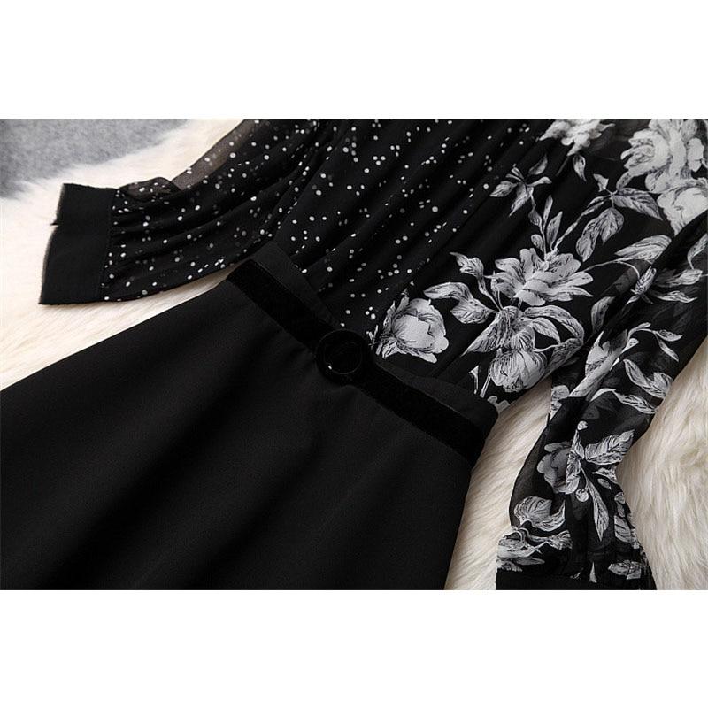 d590c61502da36 Hohe 2019 Designer Mode Frühling Schwarzes Kleid Diamanten Qualität Kurze  weiß Print Block Perlen Kragen Floral Frauen Farbe Beiläufige Fl1JKTc3