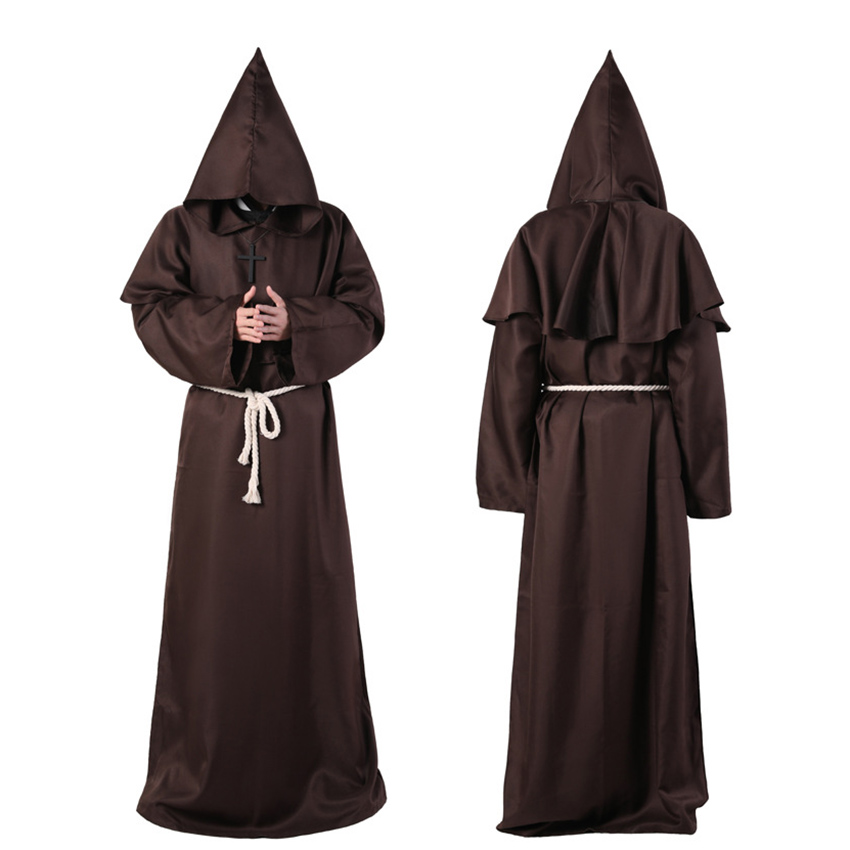 Horror Grim Reaper Costume Men Vintage Monk Cosplay Cloak Robe Scary Wizard Costume Halloween Costumes for women Dress 7