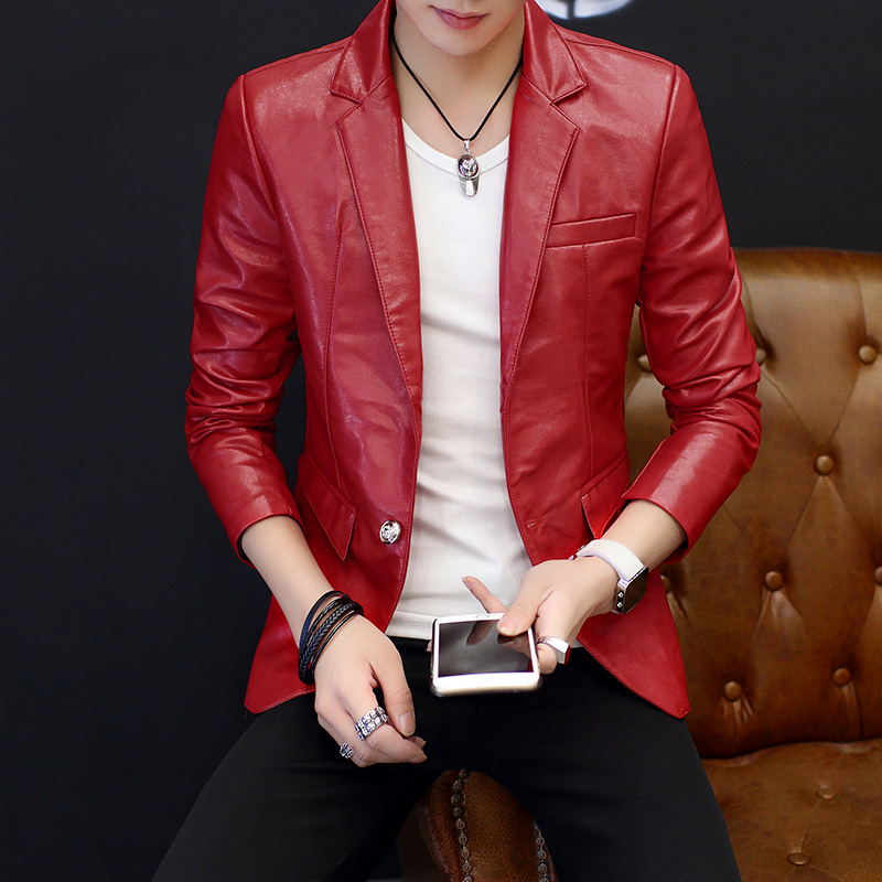 Spring 2020 Men's Leather Suit Personality Trend Handsome Young British Cultivate One's Morality Suit