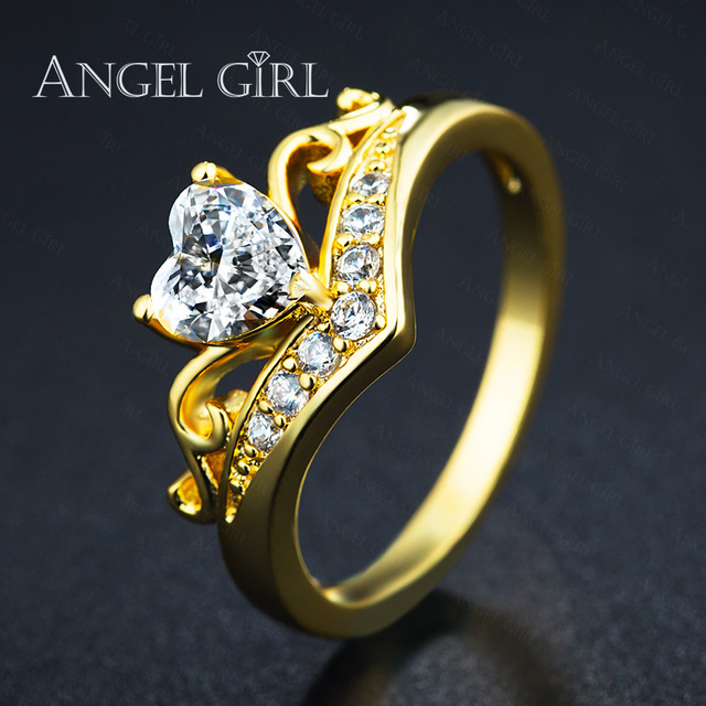 a81bf2b4ed1b5 Angel Girl 2019 Gold Color Crown Hand Heart Clah-Duh Claddagh Ring For Women  Cubic Zirconia Female Luxury Wedding Rings gift