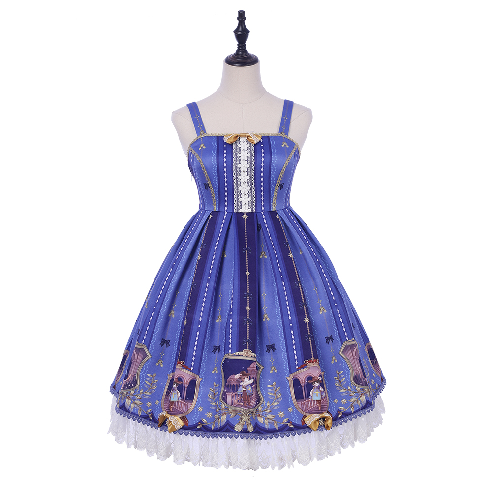 <font><b>Lolita</b></font> <font><b>Dress</b></font> Straps Printed Fuffles Cute <font><b>Lolita</b></font> Jumper Skirt image