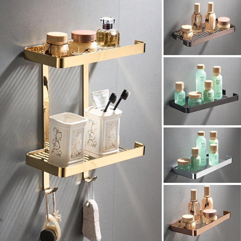 Bathroom Shelves Brass Square Basket Shelf Wall Mounted Cosmetic Organizer Shelf Shower Gel Corner Shelf Bathroom Accessories
