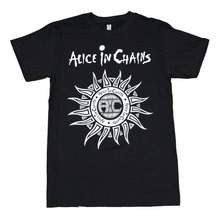 Pure Cotton Funny T Shirts Clothing  Office Men O-Neck Short Sleeve Alice In Chains Sun Logo Tee alice in chains