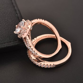 Jiayiqi Fashion Rose Gold Egg-Shape Creative Rings Sets For Engagement Wedding Jewelry 1