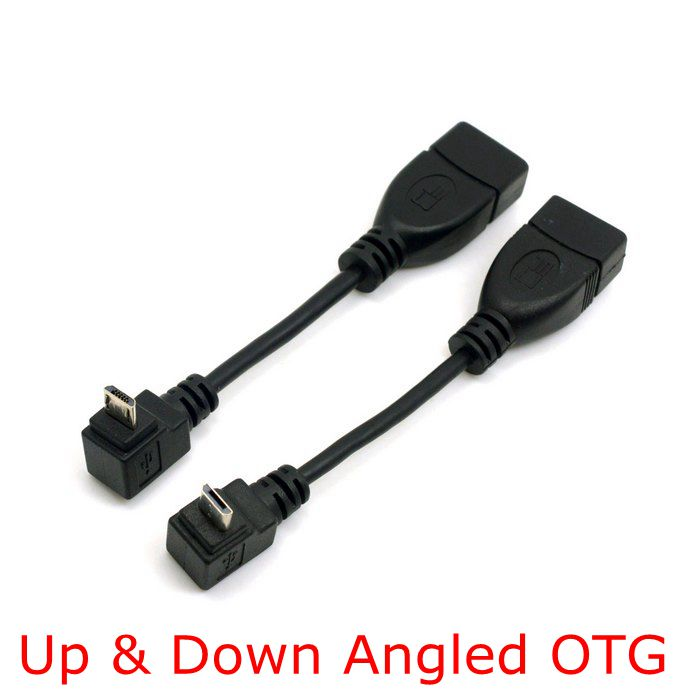 90 Degree Up & Down Right Angled Connector Micro USB 2.0 Male to USB 2.0 Female OTG Cable Adapter 10cm for USB flash disk 2pcs 90 degree up
