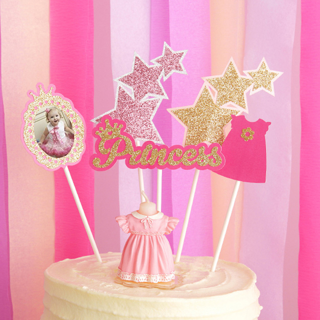 Birthday Candles Happy Topper Princess Dresses Cake Decorating Blue Braces Smokeless Scented Candle Photo Insert Card