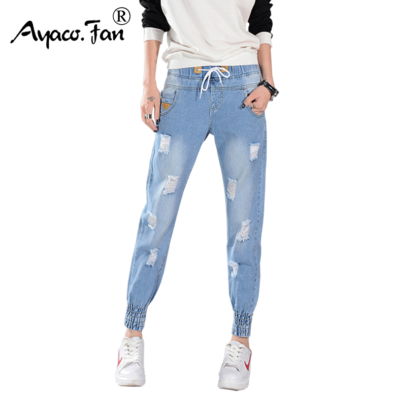 2017 Loose Ankle-Length Jeans For Students Women Casual Denim Boyfriend Pants Women Ripped Trousers Lace Up Harem Pants Female loose lace up casual mens pencil pants