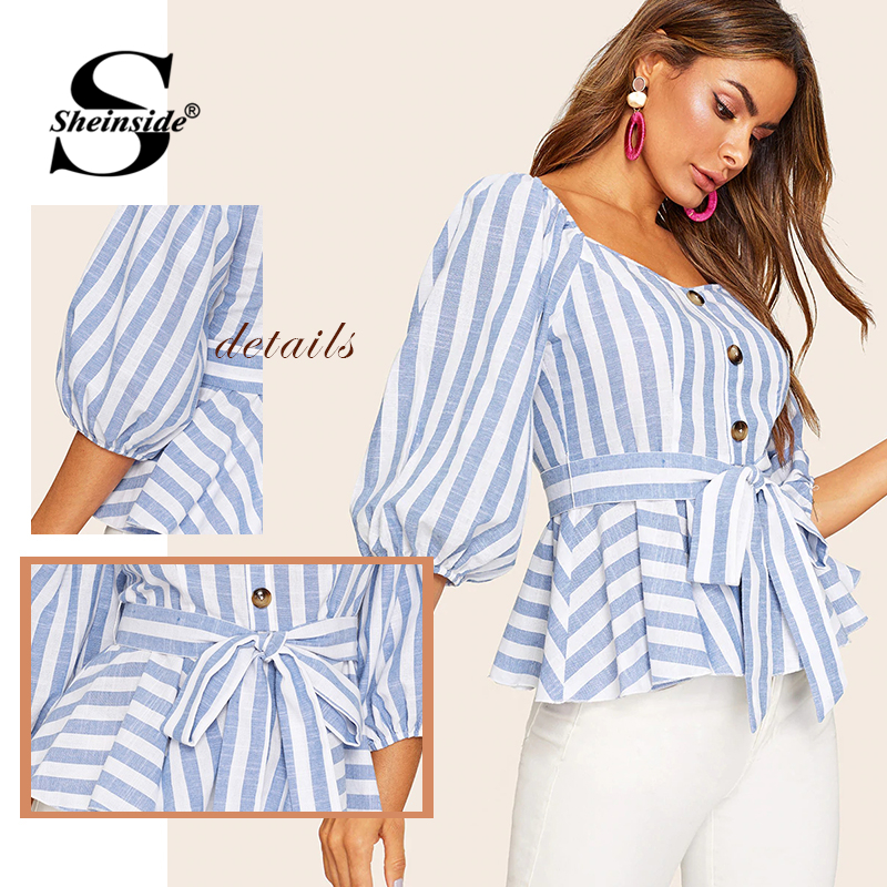 d34a10eb0f9 Sheinside Button Front Bishop Sleeve Belted Striped Blouse Half Sleeve  Sweetheart Neck Blouse Women 2019 Summer Slim Fit Top