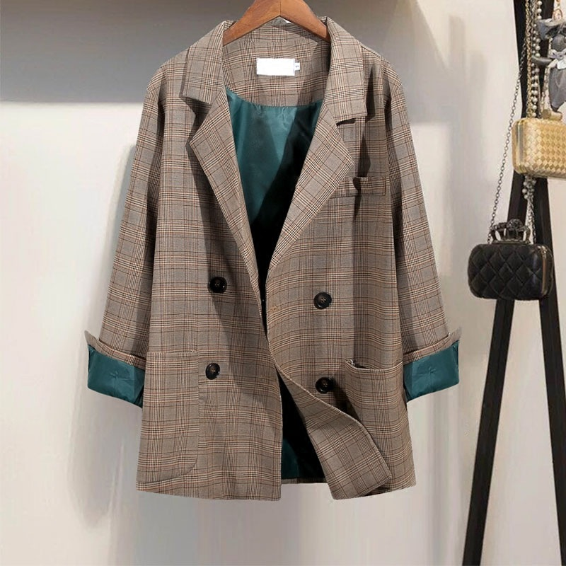 Blazer Women Loose Korean Retro Small Plaid Long-sleeved Suit Fashion Ladies Jacket 2019 Autumn New Popular Women's Clothing