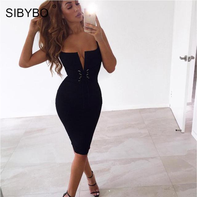 Sibybo Deep V Neck Sexy Summer Bodycon Bandage Dress 2017 Lace Up Slim  Robe Femme Club Women Midi Party Dresses Vestidos