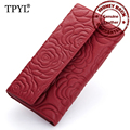 2016 Luxurious Cow Leather Embossed Tri-fold Large Capacity Women Clutch Wallets European and American Hot Female Wallet Purses