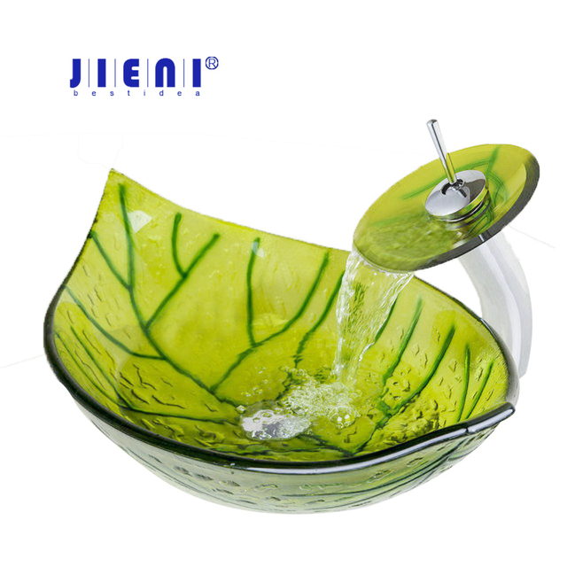 Bon Modern Luxury Basin Sink Faucet Set Tempered Glass Vessel Vanity Green Leaf  Shape Basin Sink Waterfall