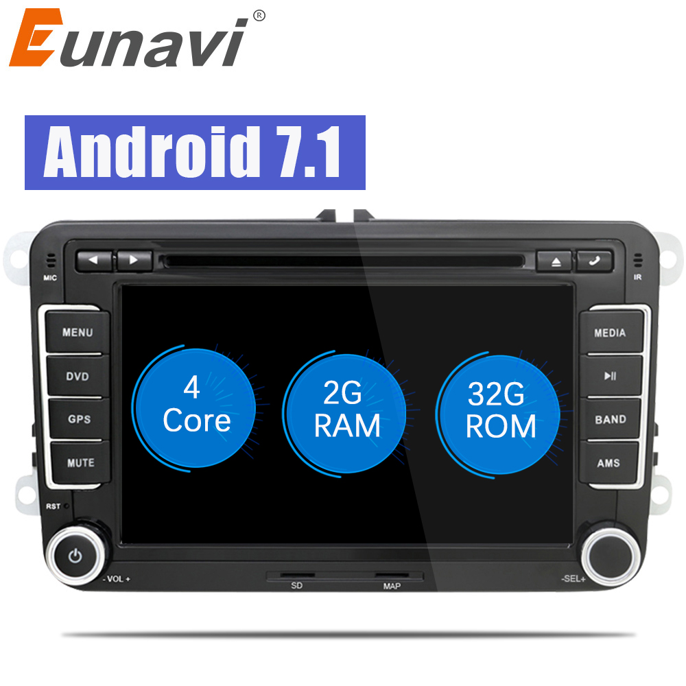 7 Eunavi ''2Din Android 7.1 8.1 carro gps estéreo rádio do carro dvd player para VW GOLF Polo Bora 6 JETTA PASSAT Tiguan SKODA OCTAVIA B6