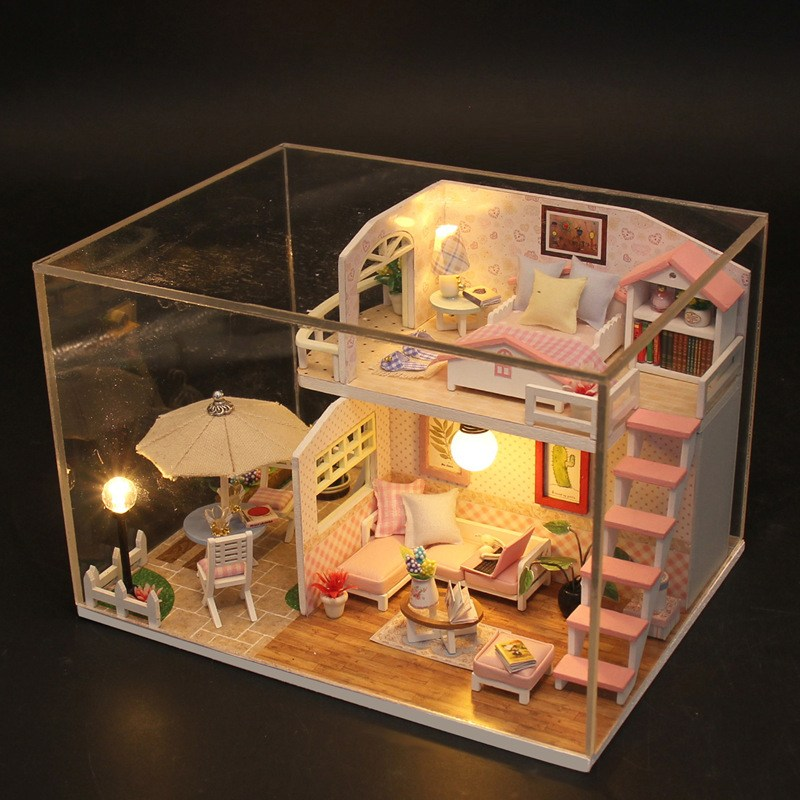 Hoomeda M033 Pink Loft DIY House With Furniture Music Light Cover Miniature High Quality Decor Toy все цены