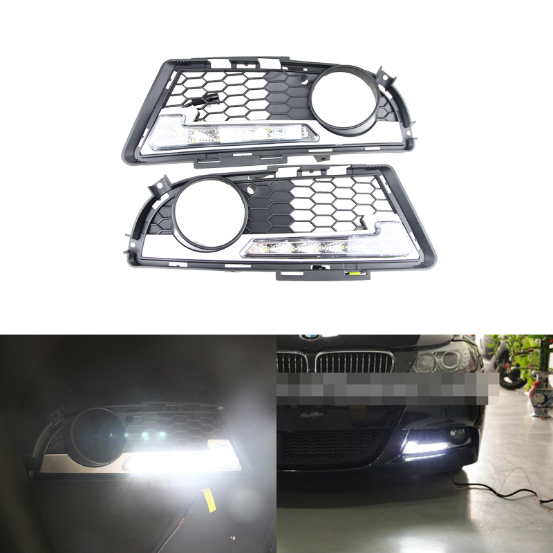 Brand New Led Daytime Running Lights For BMW E90 E91 3 Series 2009-2012 M Tech M High Power Front Bumper Fog Daylights DRL oem fit 10w high power 5 led daytime running lights drl kit for bmw 3 series e90 e91 2005 2008 driving light led fog light lamp