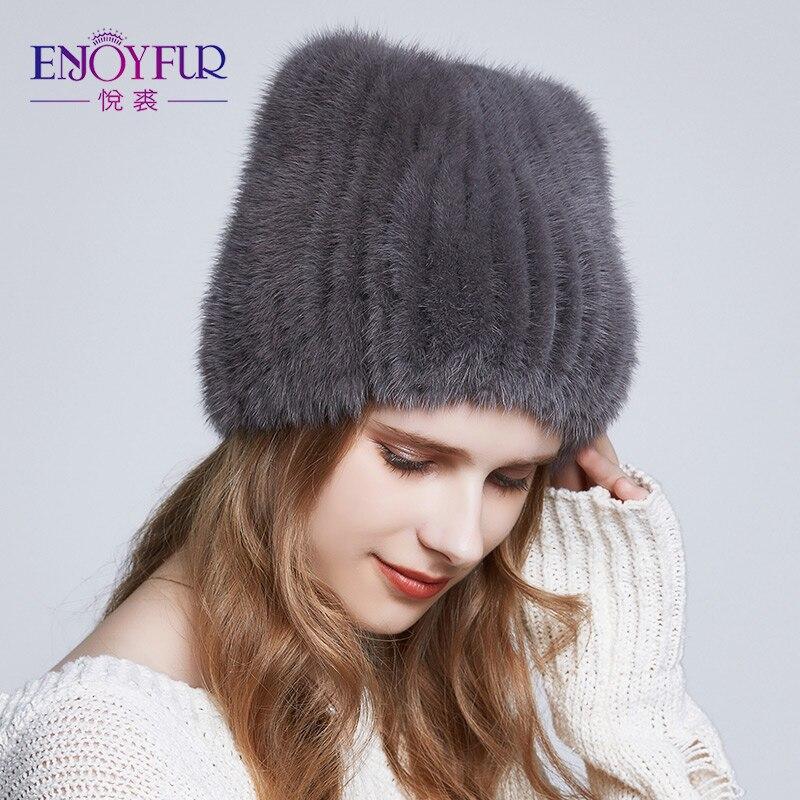 ENJOYFUR mujeres invierno natural piel de visón sombreros caliente grueso  de punto sombreros de piel 2018 e0888ab0ee9