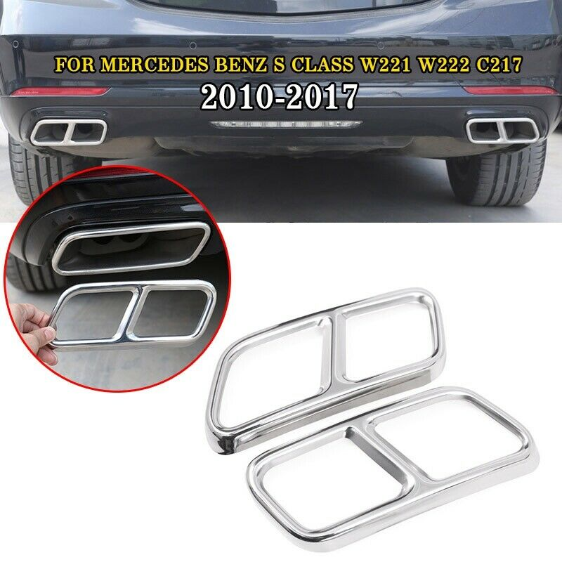 pcmos 2019 New Rear Exhaust End Pipe Muffler Tip Cover Trim For Mercedes Benz S Class