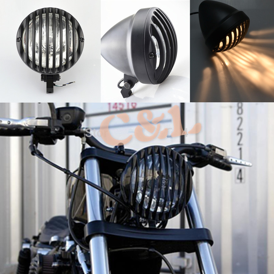 New Motorcycle Aluminum Cage Retro Scalloped Finned Headlight Grill Wiring Diagram Harley Evo Bobber Black Metal With Edge Cut Custom Fit For Sportster 883 1200 Xl