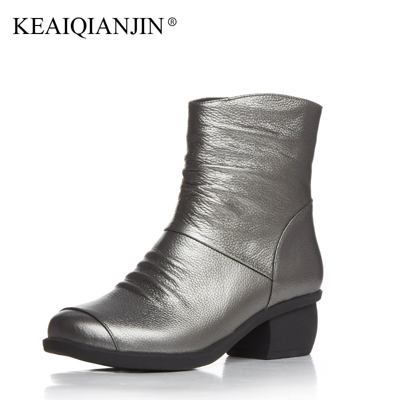 KEAIQIANJIN Woman Genuine Leather Ankle Boots Autumn Winter Black Silver Bottine Plus Size 33 - 44 Shoes Zipper High Heels Boots