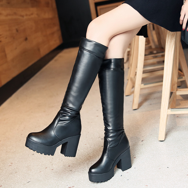 2016 Fashion PU Leather Over Knee Boots Women Round Toe Motorcycle Thick Heel Thigh High Riding Boots Big Size 34-43 Botas Mujer